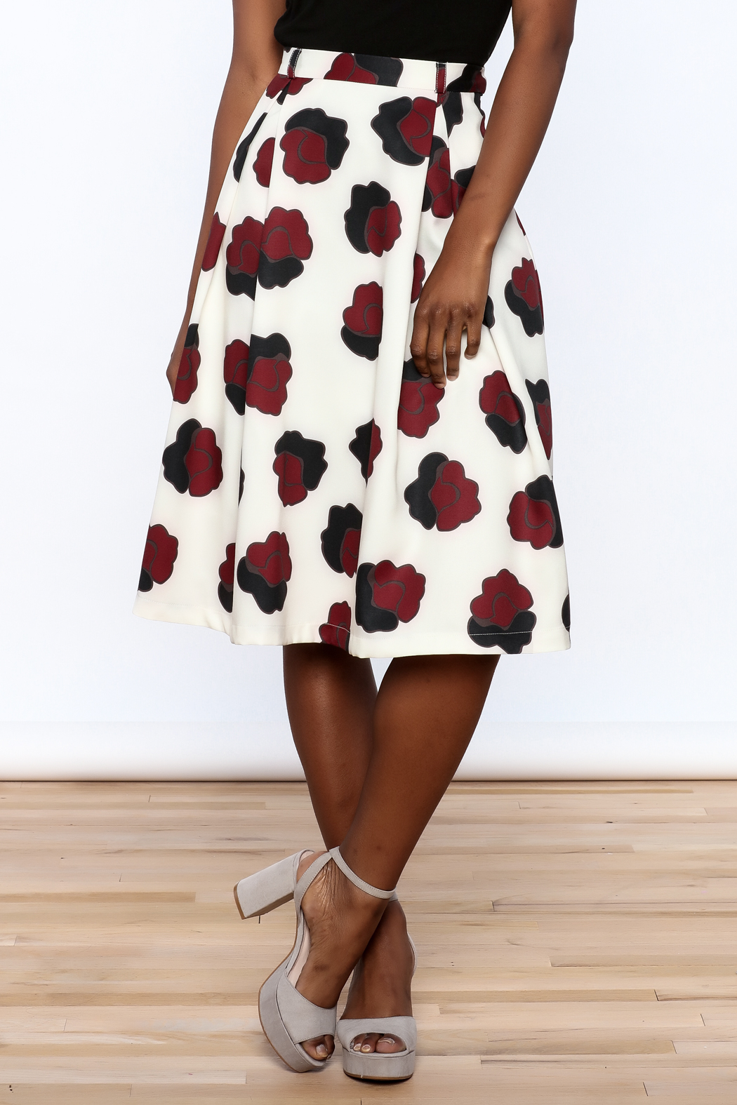 BEULAH STYLE Ivory Floral Skirt - Main Image