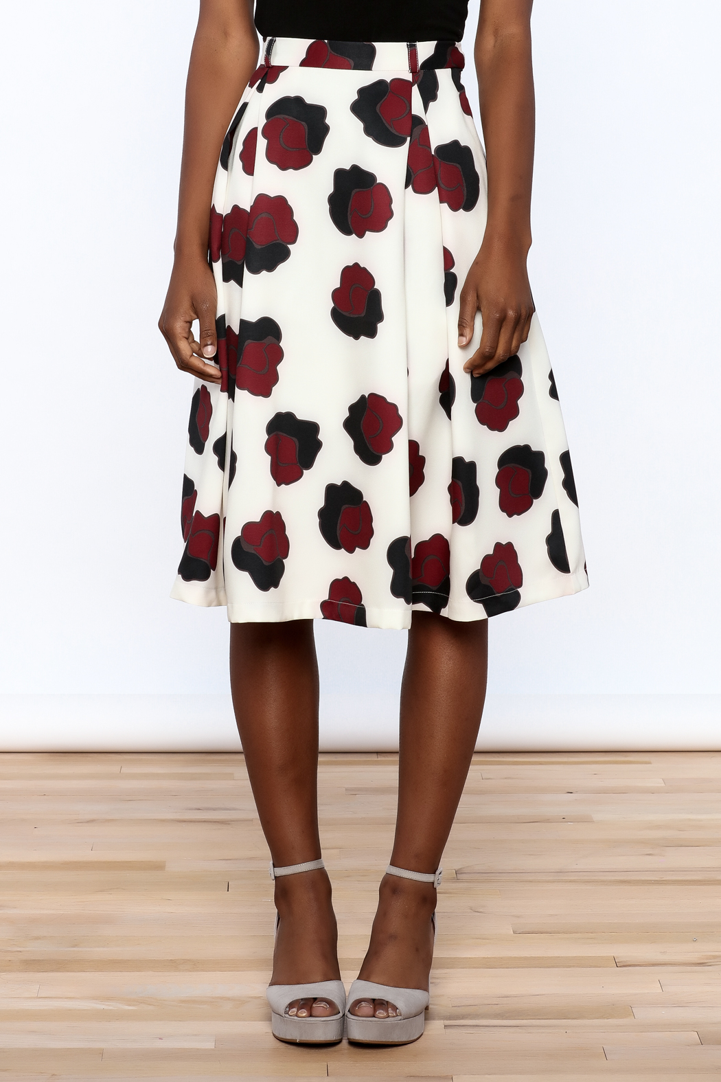 BEULAH STYLE Ivory Floral Skirt - Side Cropped Image