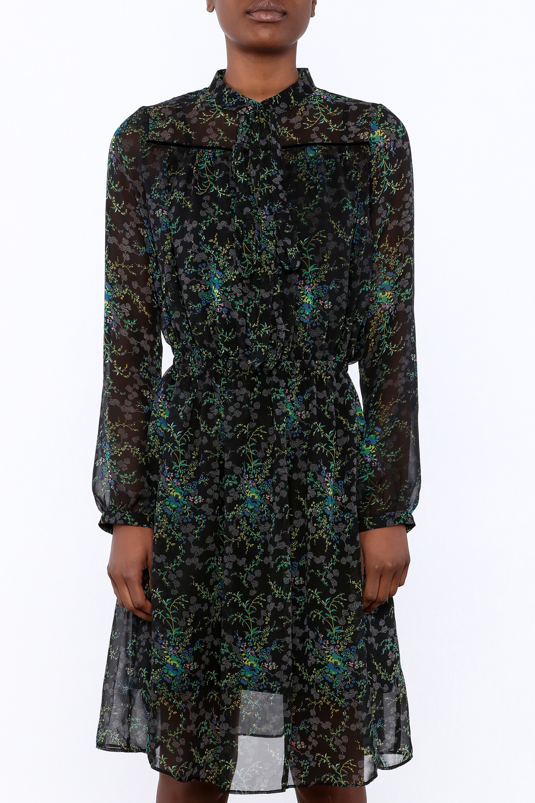 BEULAH STYLE Sheer Floral Dress - Side Cropped Image