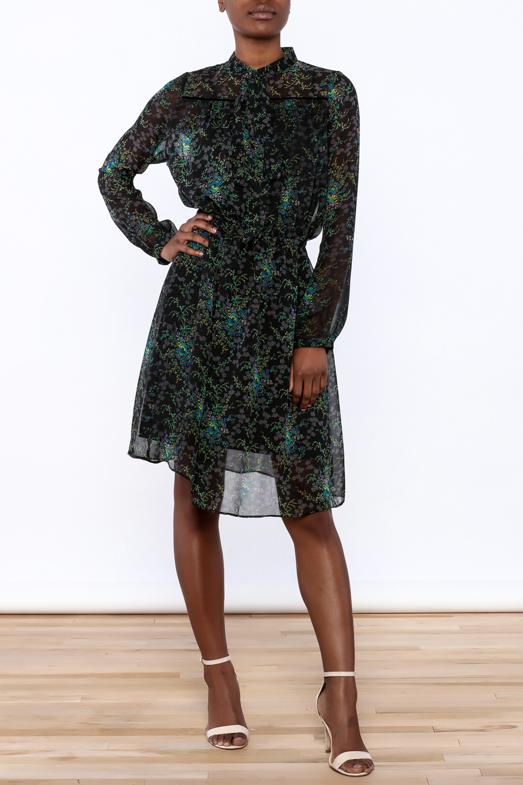 BEULAH STYLE Sheer Floral Dress - Front Full Image