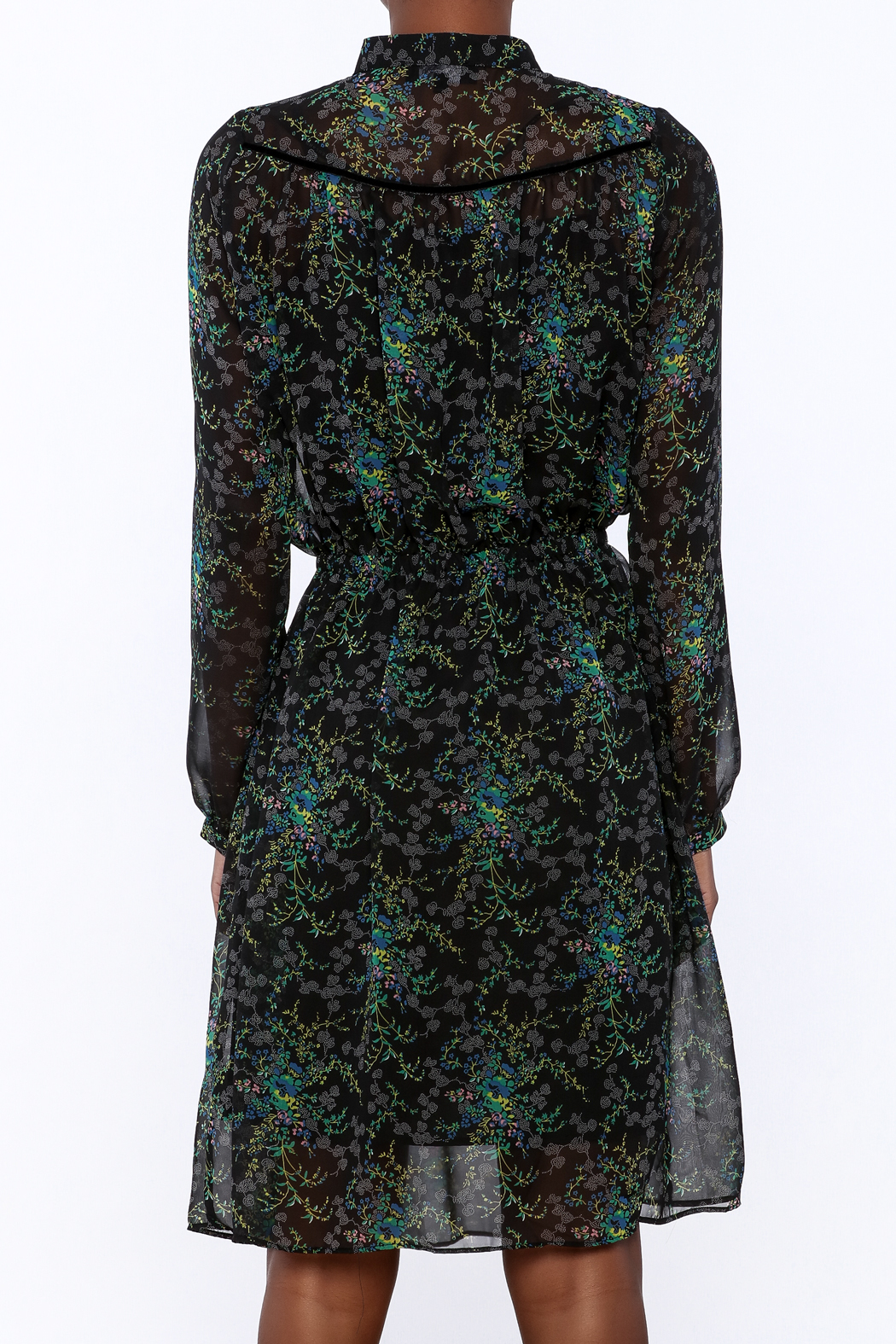 BEULAH STYLE Sheer Floral Dress - Back Cropped Image