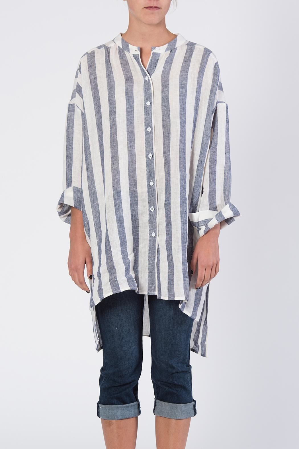 BEULAH STYLE Blue & White Striped Top - Front Full Image