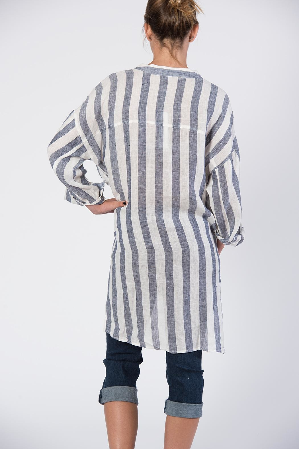 BEULAH STYLE Blue & White Striped Top - Side Cropped Image
