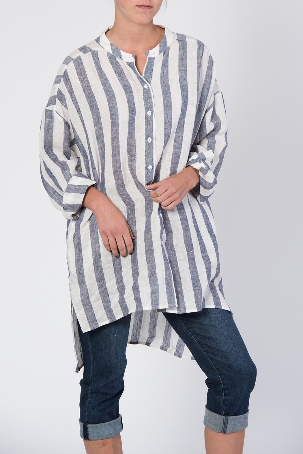 BEULAH STYLE Blue & White Striped Top - Main Image
