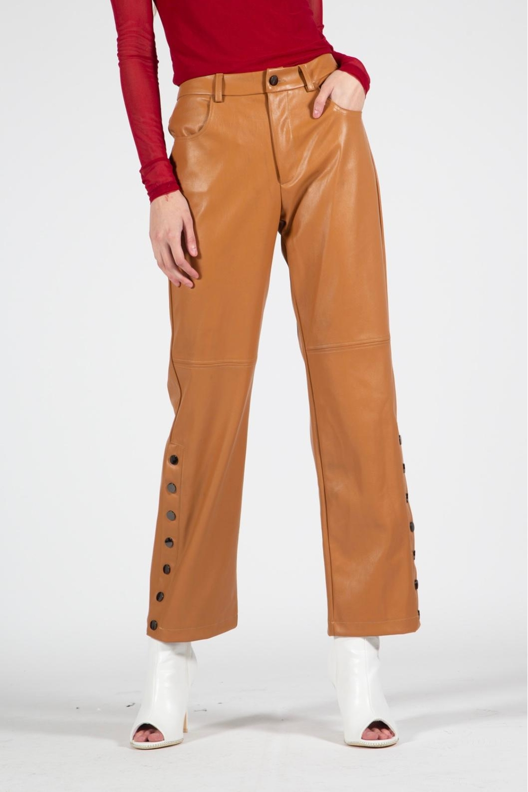BEULAH STYLE Camel Leather Pants - Side Cropped Image