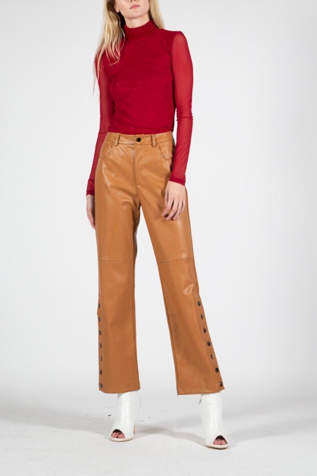 BEULAH STYLE Camel Leather Pants - Main Image