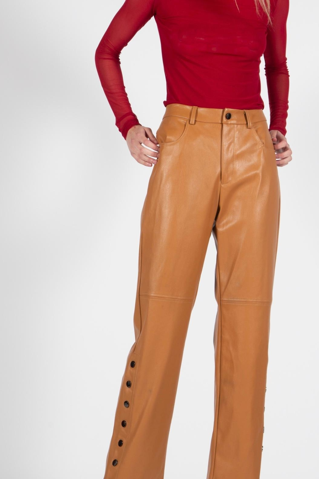 BEULAH STYLE Camel Leather Pants - Front Full Image