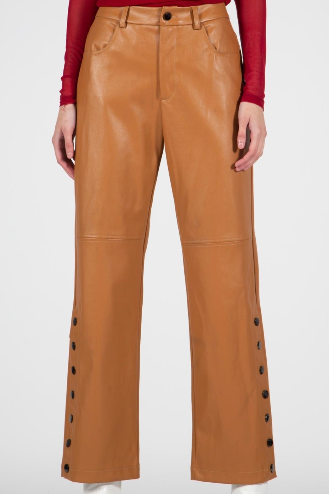 BEULAH STYLE Camel Leather Pants - Back Cropped Image
