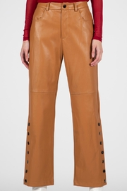 BEULAH STYLE Camel Leather Pants - Back cropped