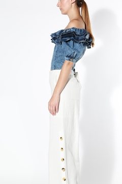 BEULAH STYLE Denim Ruffle Top - Product List Image