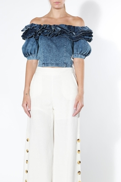 BEULAH STYLE Denim Ruffle Top - Alternate List Image