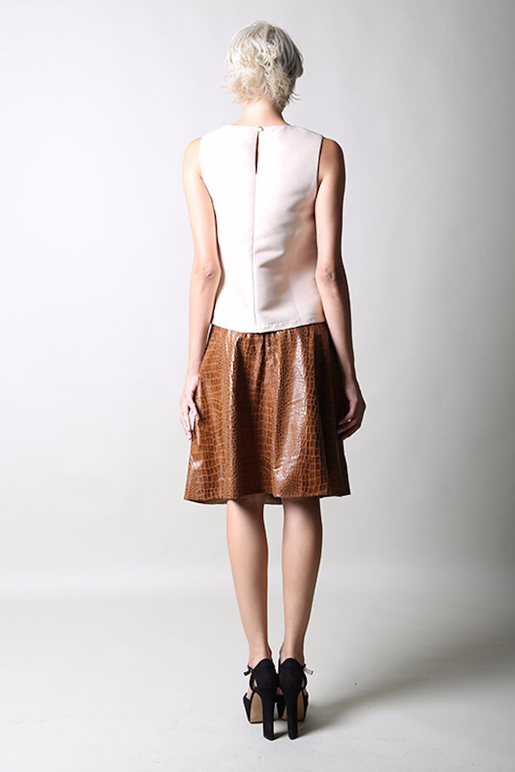 BEULAH STYLE Faux Croc Skirt - Side Cropped Image