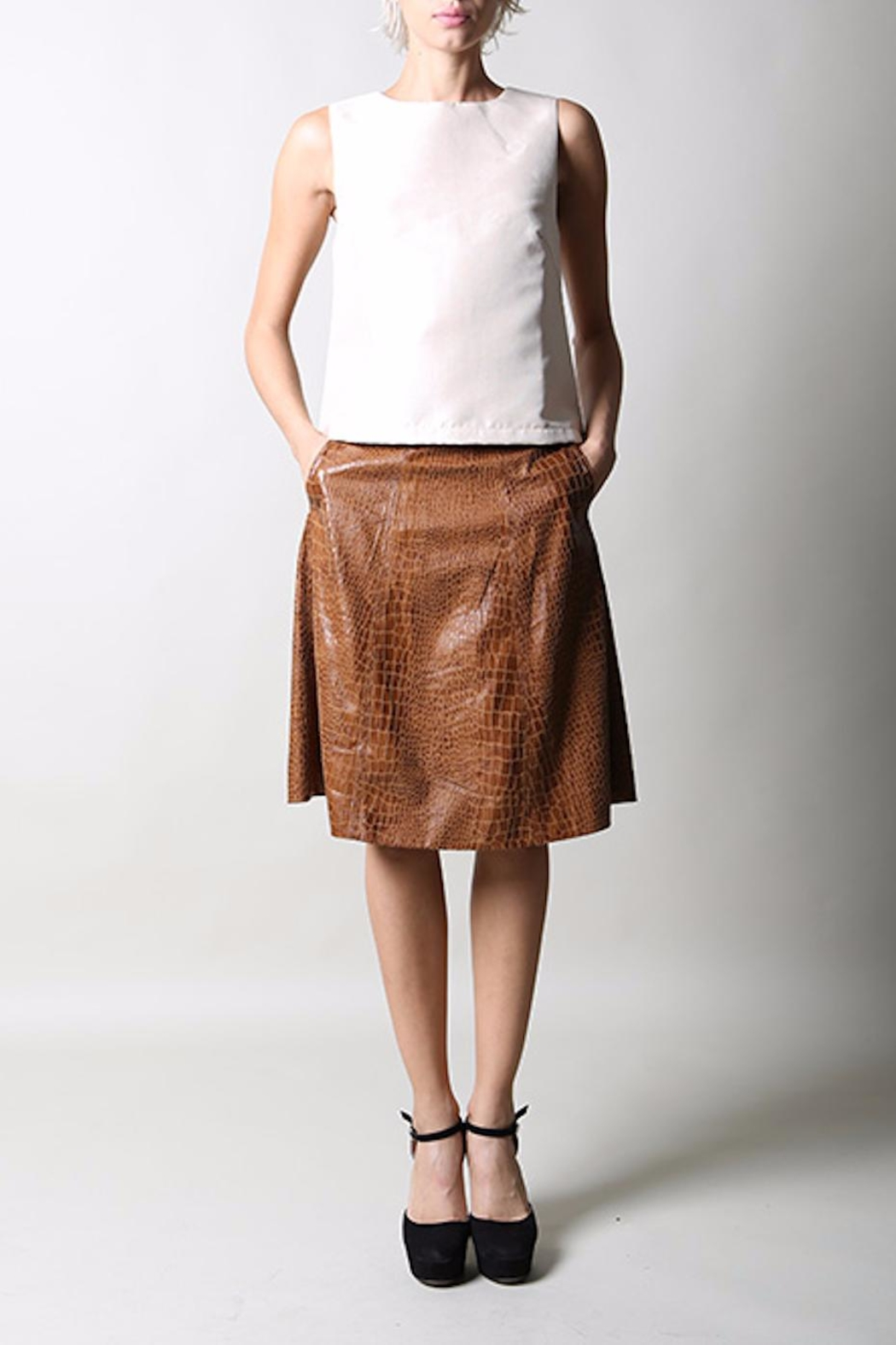 BEULAH STYLE Faux Croc Skirt - Front Full Image