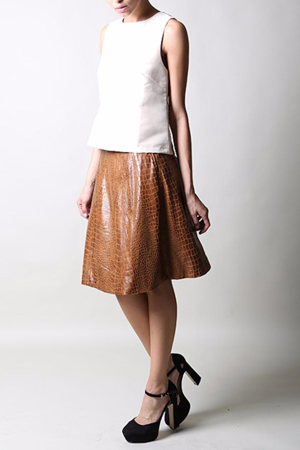 BEULAH STYLE Faux Croc Skirt - Main Image