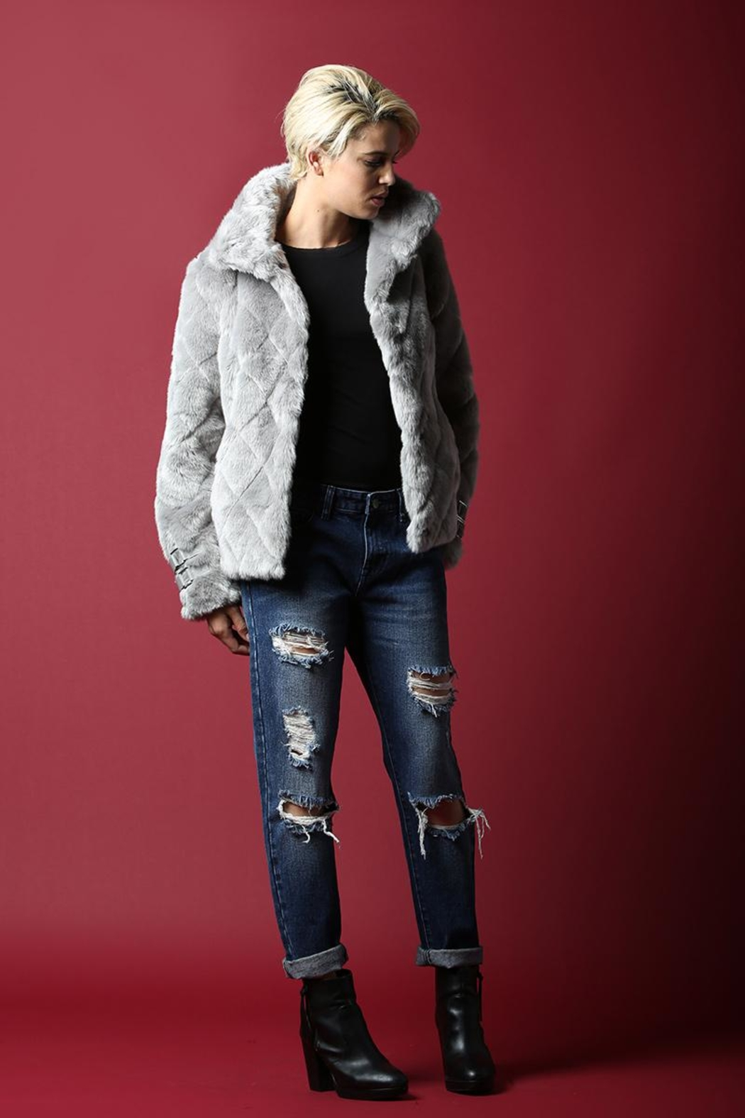 BEULAH STYLE Faux Fur Coat - Front Full Image