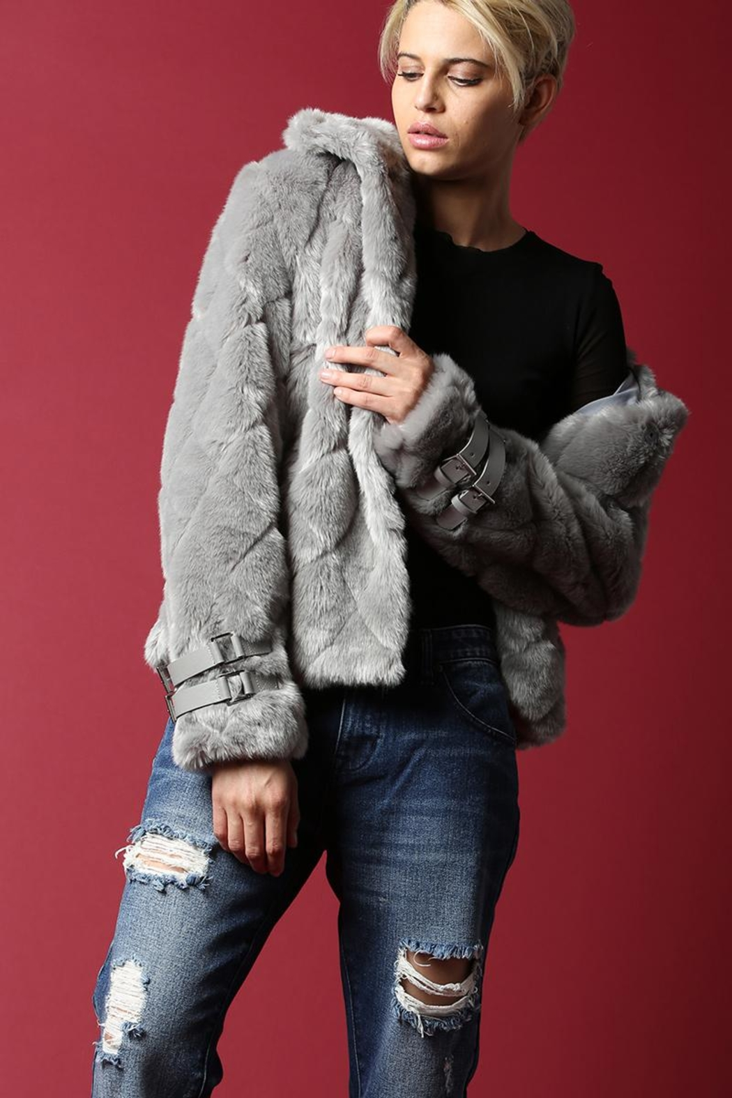 BEULAH STYLE Faux Fur Coat - Back Cropped Image