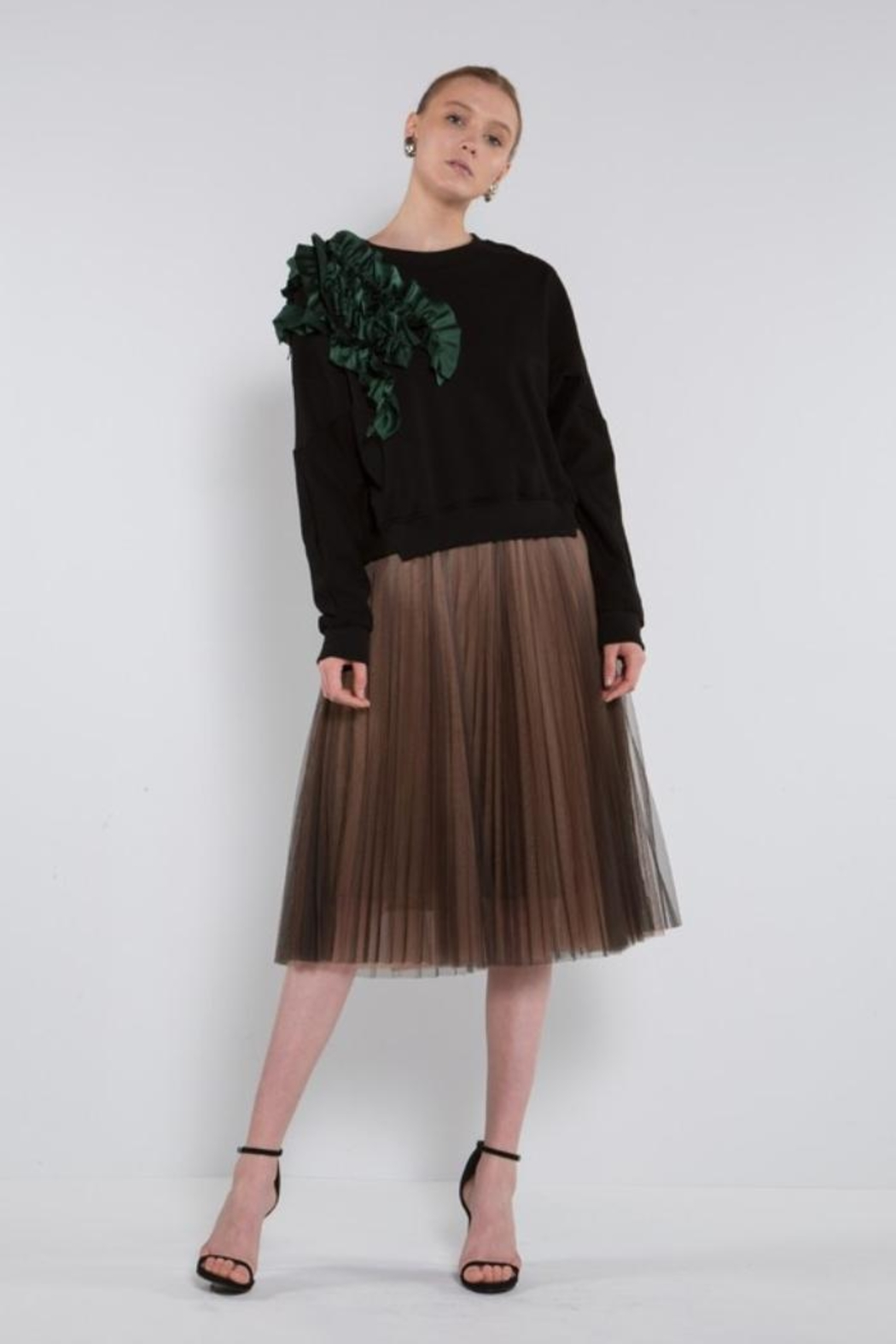 BEULAH STYLE Green Ruffle Sweater - Front Full Image