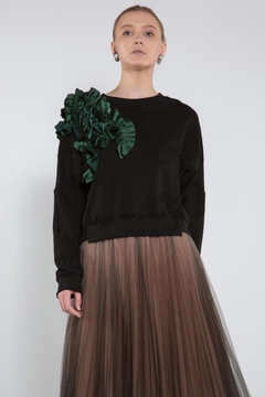 BEULAH STYLE Green Ruffle Sweater - Product List Image