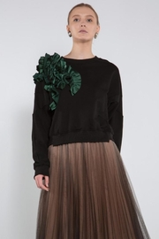 BEULAH STYLE Green Ruffle Sweater - Front cropped