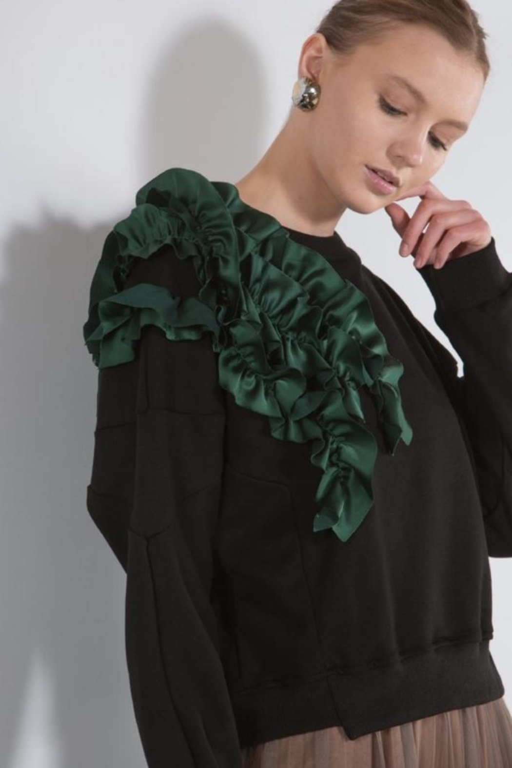 BEULAH STYLE Green Ruffle Sweater - Back Cropped Image
