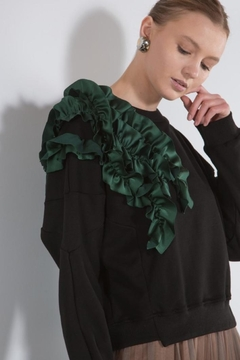 BEULAH STYLE Green Ruffle Sweater - Alternate List Image