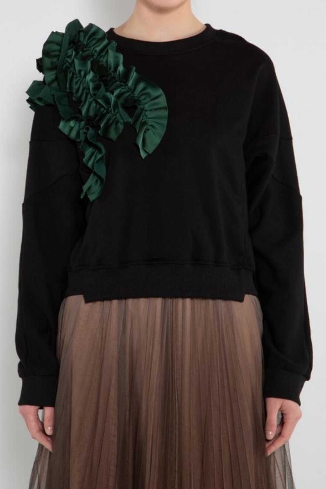 BEULAH STYLE Green Ruffle Sweater - Side Cropped Image