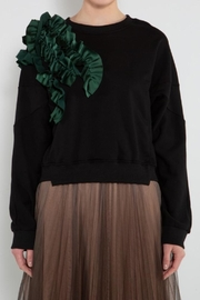 BEULAH STYLE Green Ruffle Sweater - Side cropped
