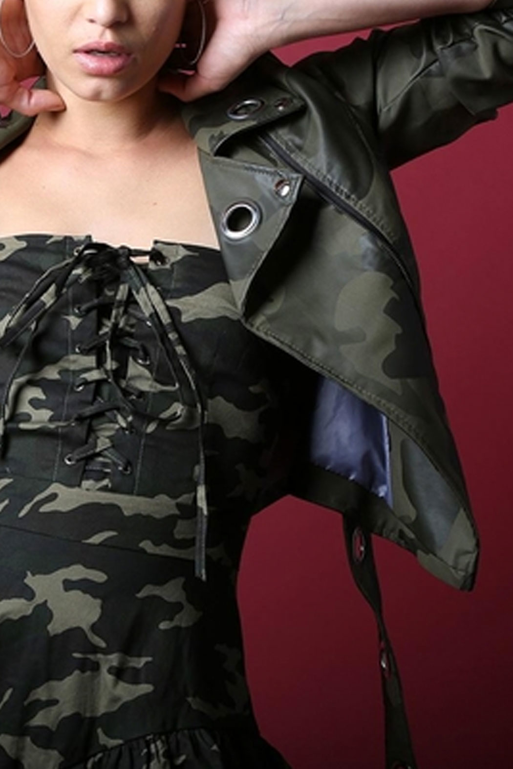 BEULAH STYLE Grommet Army Jacket - Front Full Image
