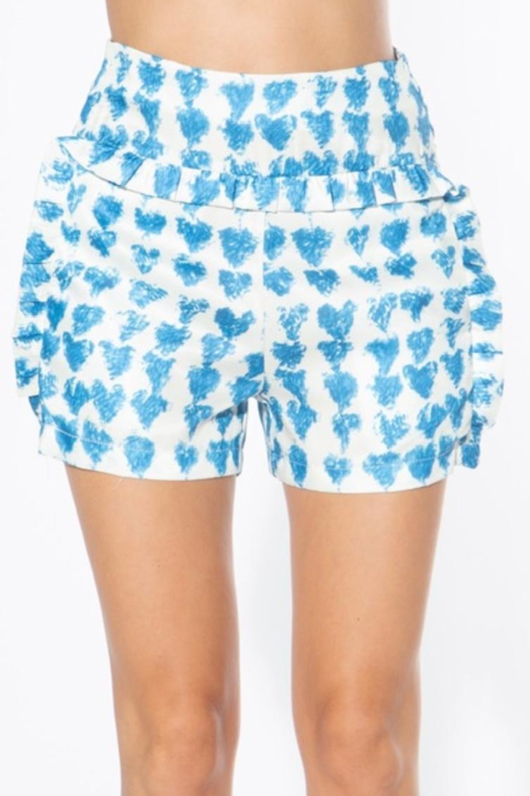 BEULAH STYLE Heart Satin Shorts - Front Cropped Image