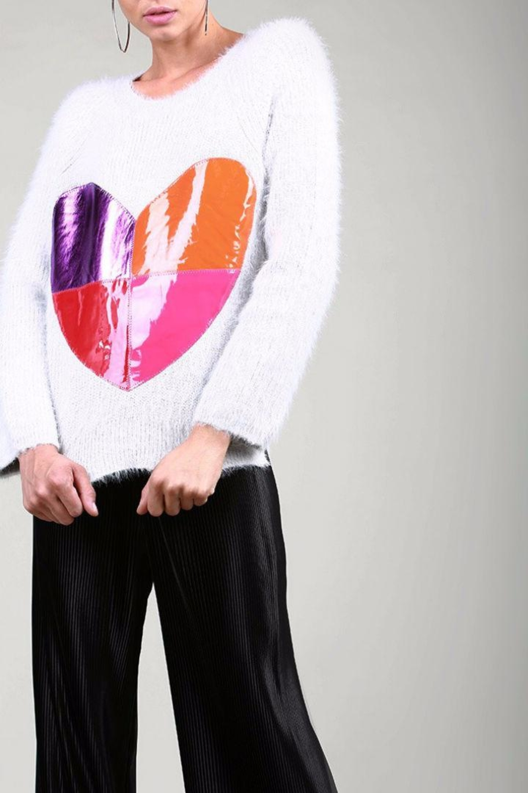 BEULAH STYLE Heart Sweater - Back Cropped Image