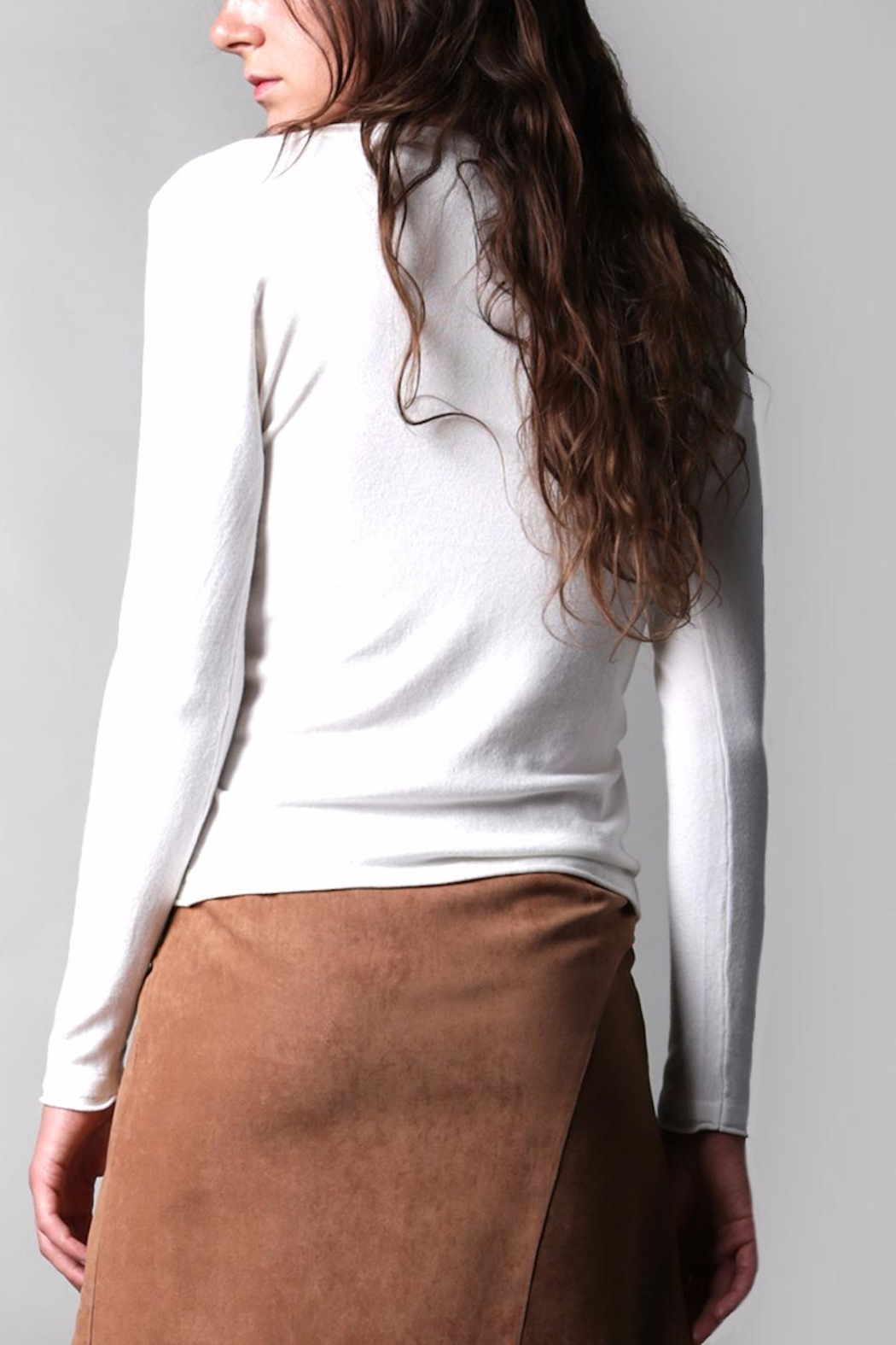 BEULAH STYLE Ivory Button Cardigan - Back Cropped Image