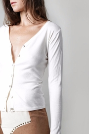 BEULAH STYLE Ivory Button Cardigan - Front cropped
