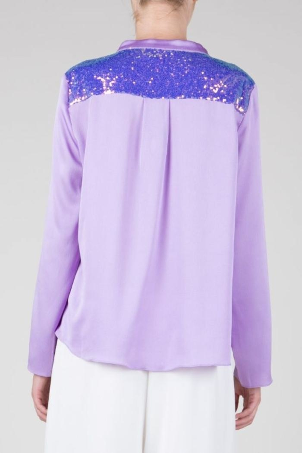 BEULAH STYLE Lavender Sequin Top - Back Cropped Image