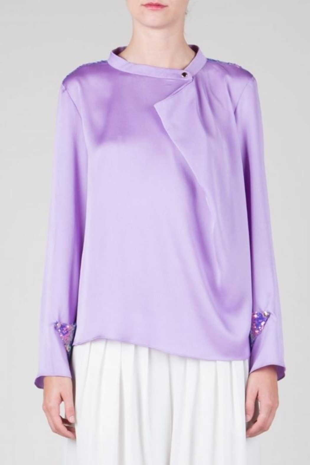 BEULAH STYLE Lavender Sequin Top - Side Cropped Image