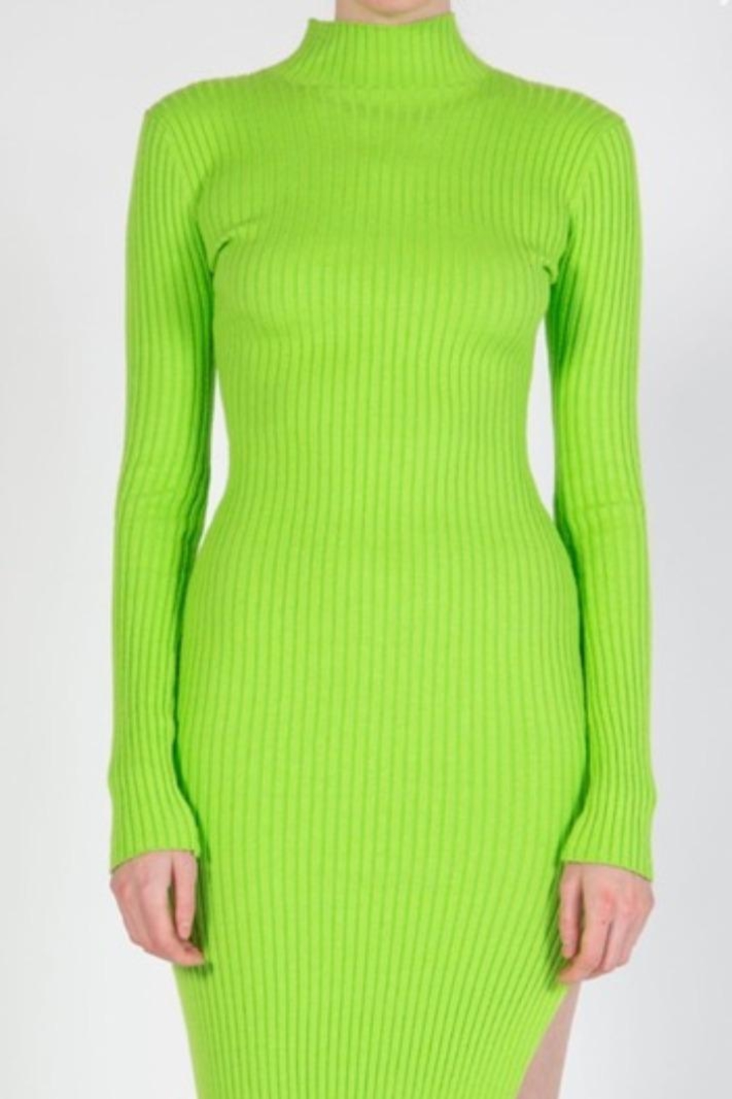BEULAH STYLE Lime Sweater Dress - Back Cropped Image