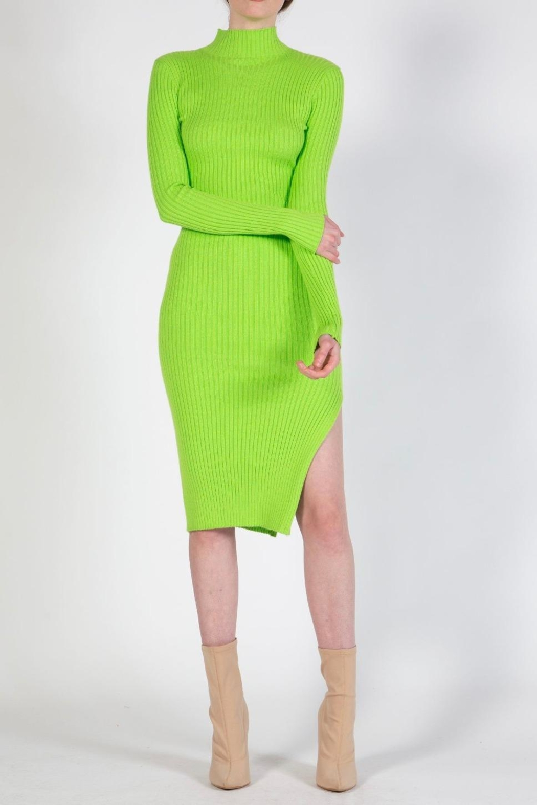 BEULAH STYLE Lime Sweater Dress - Main Image