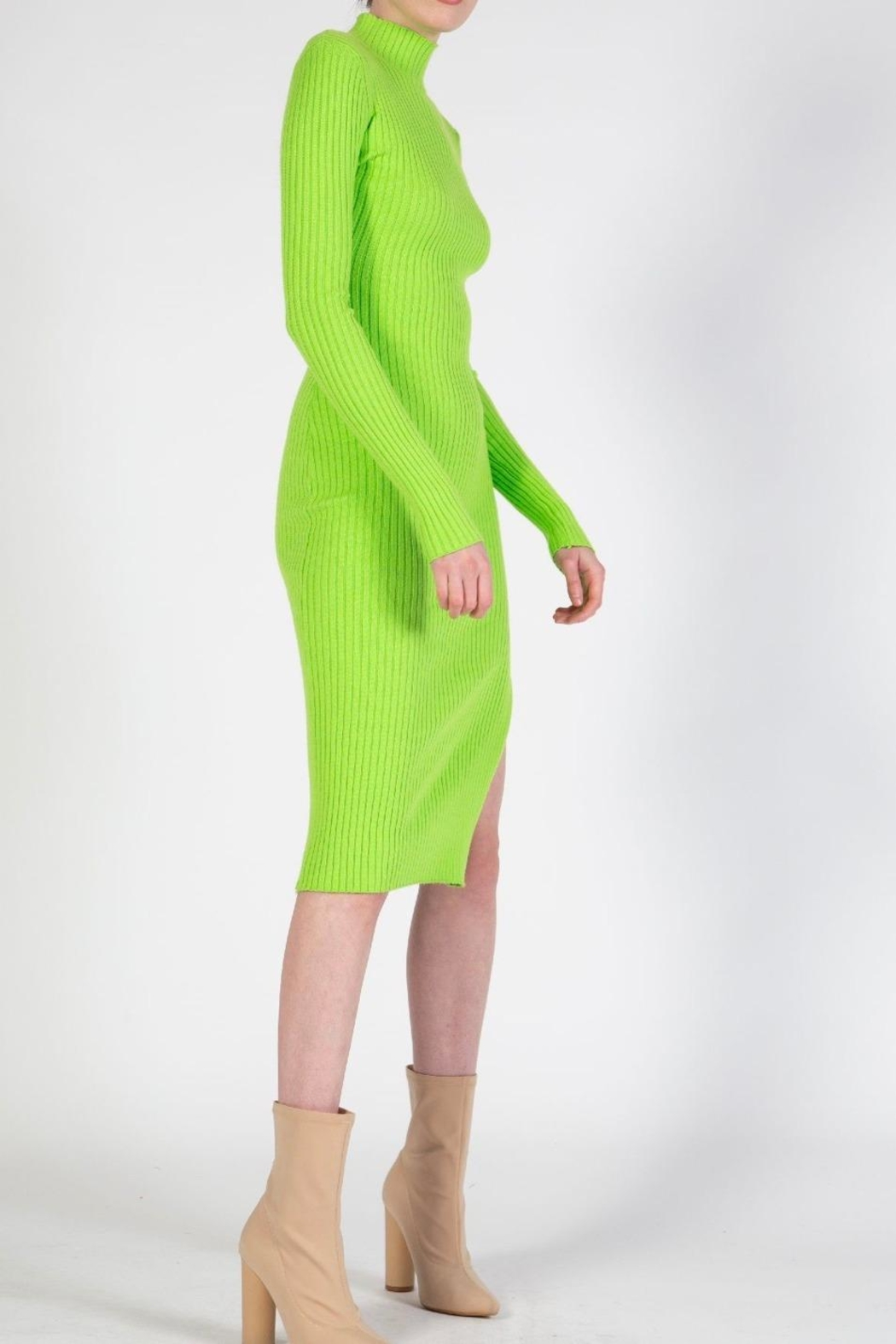 BEULAH STYLE Lime Sweater Dress - Front Full Image