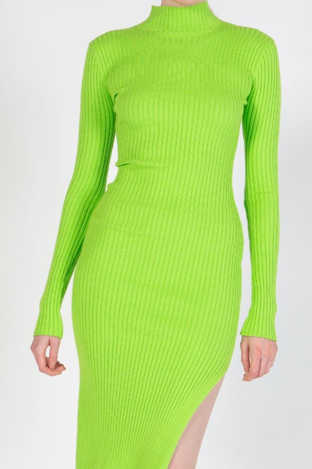 BEULAH STYLE Lime Sweater Dress - Side Cropped Image
