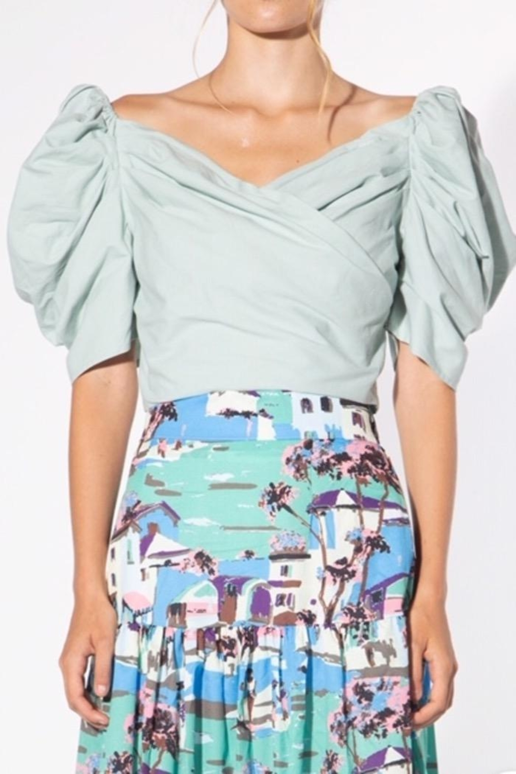BEULAH STYLE Mint Puff-Sleeve Blouse - Front Cropped Image