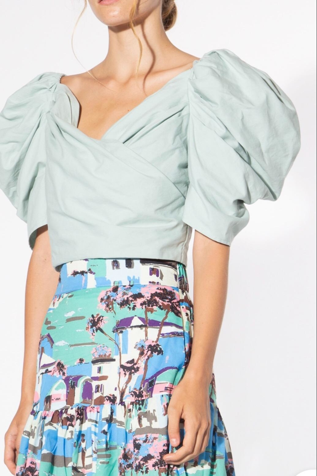 BEULAH STYLE Mint Puff-Sleeve Blouse - Main Image