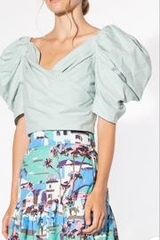 BEULAH STYLE Mint Puff-Sleeve Blouse - Front full body