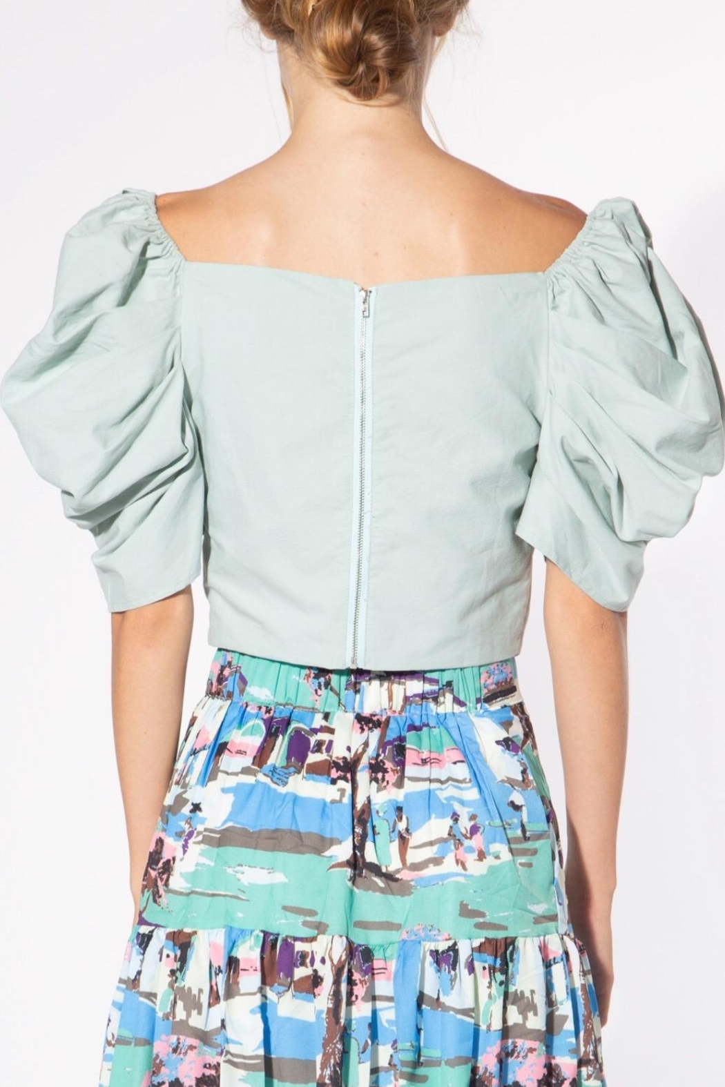 BEULAH STYLE Mint Puff-Sleeve Blouse - Back Cropped Image