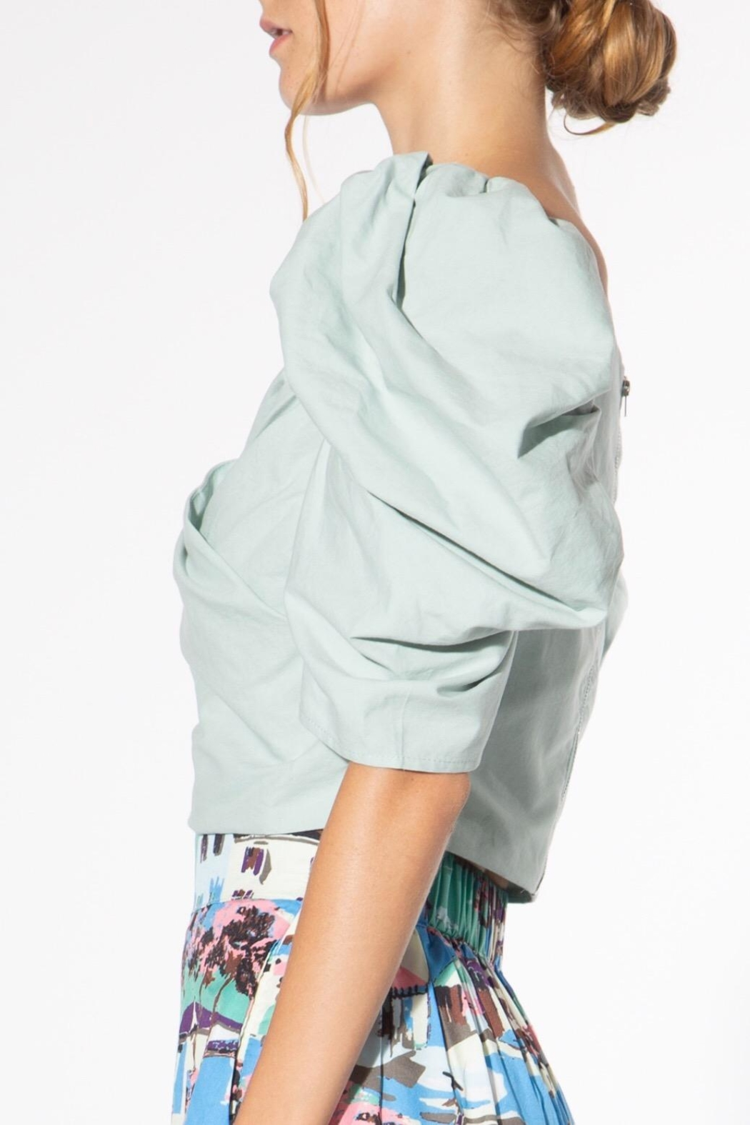 BEULAH STYLE Mint Puff-Sleeve Blouse - Side Cropped Image