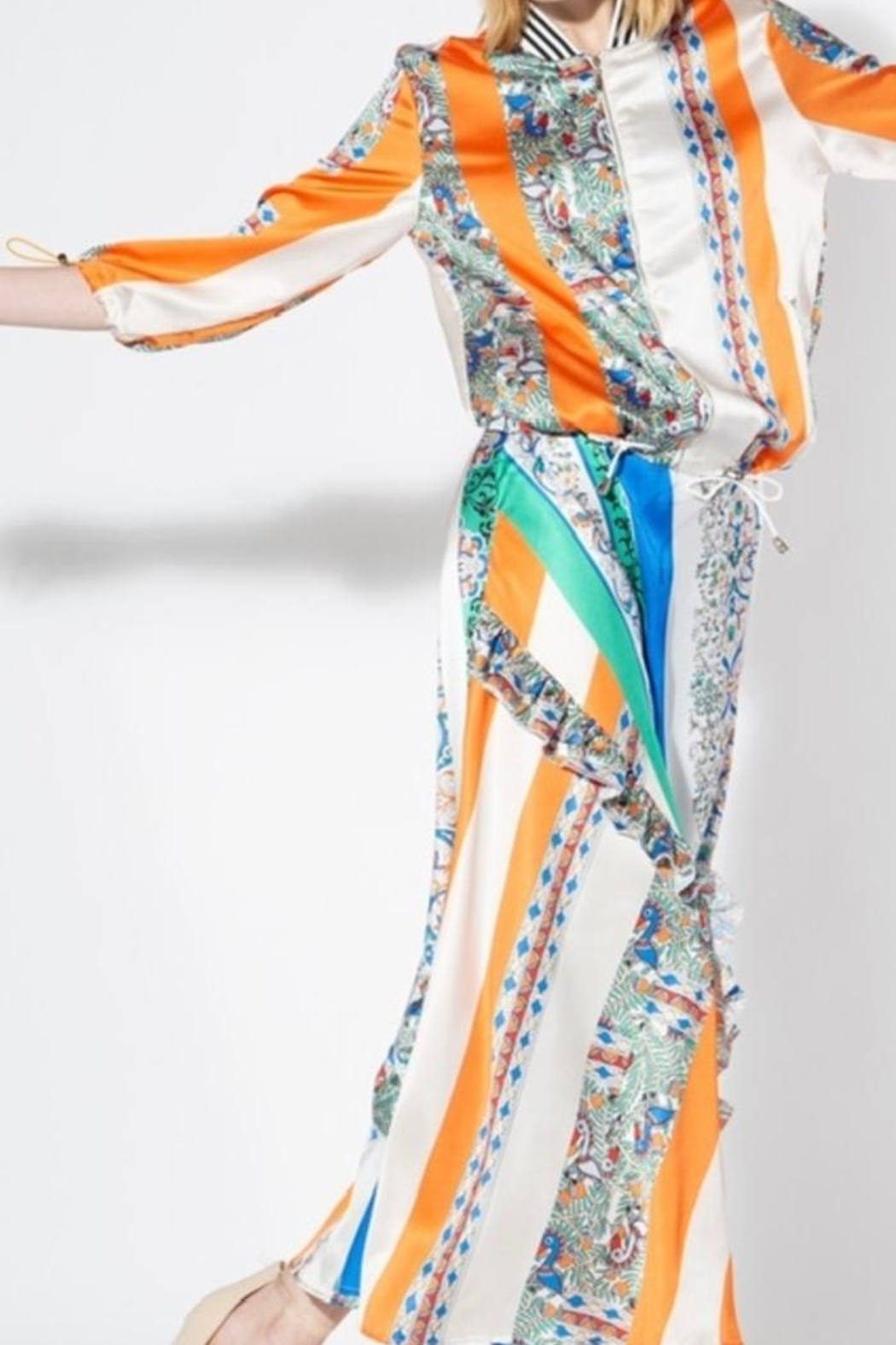 BEULAH STYLE Multicolored Silk Skirt - Back Cropped Image