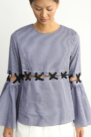 BEULAH STYLE Pinstripe Statement Blouse - Product Mini Image