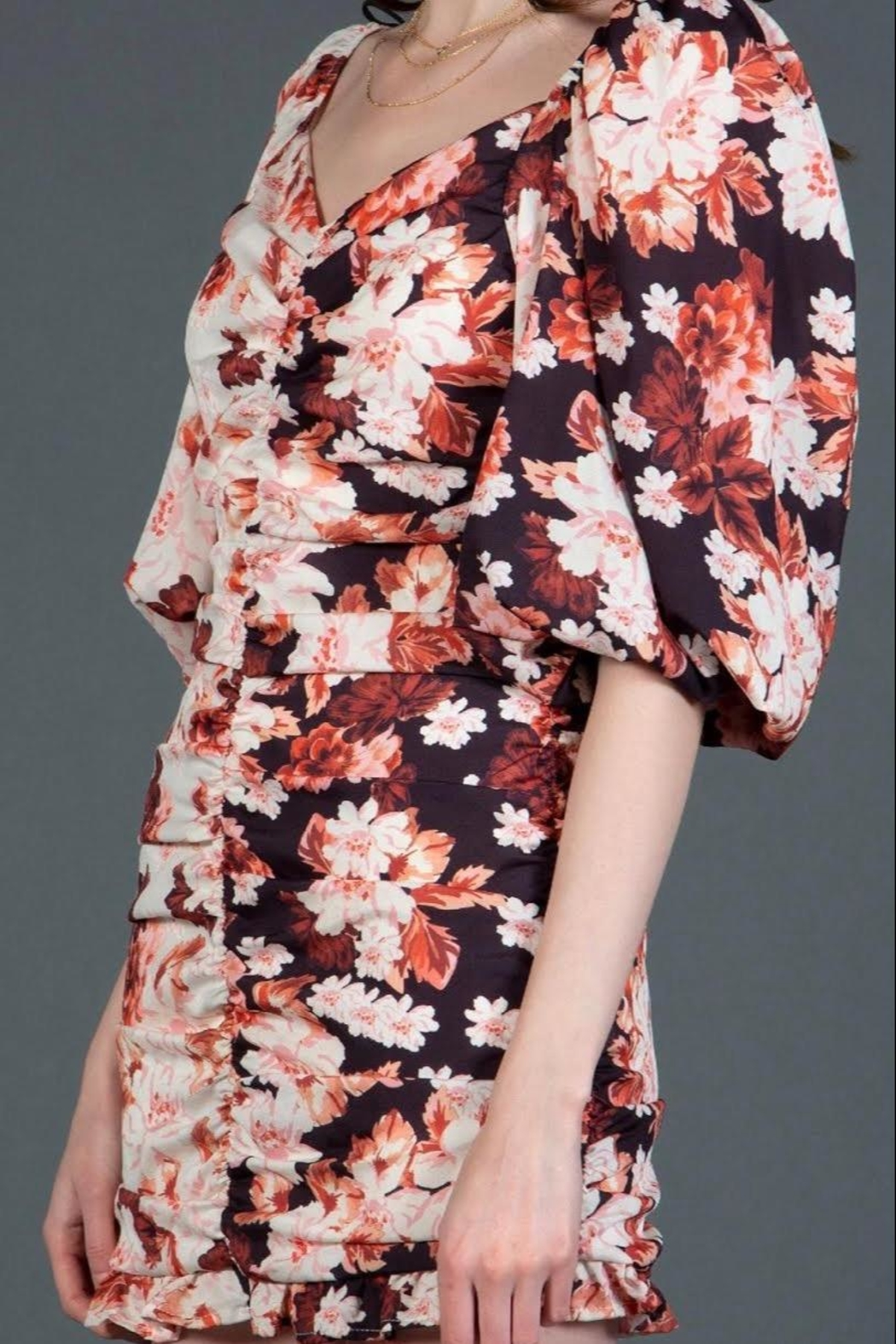 BEULAH STYLE Reverse Floral Minidress - Side Cropped Image