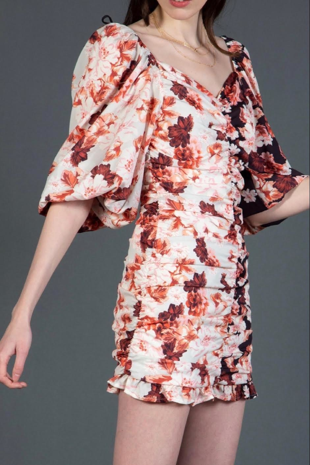 BEULAH STYLE Reverse Floral Minidress - Back Cropped Image
