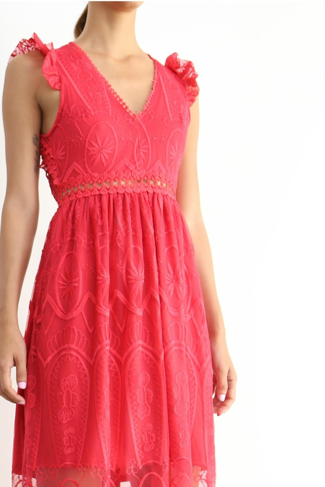 BEULAH STYLE Rose Red Dress - Front Full Image