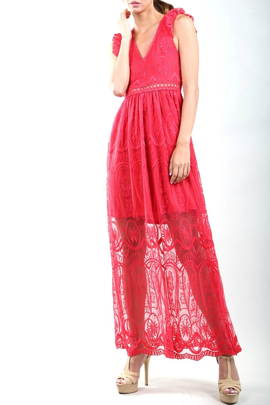 BEULAH STYLE Rose Red Dress - Main Image