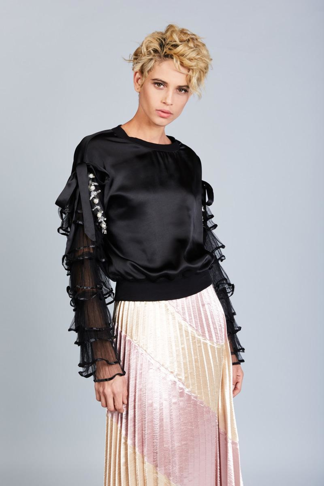 BEULAH STYLE Satin Sweater Top - Front Full Image